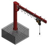 Żuraw słupowy obrotowy z wciągnikiem łańcuchowy elektrycznym na wózku elektrycznym (udźwig: 1000 kg, długość ramienia: 4000mm, wysokość do belki: 4000mm) 03077111