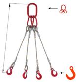 33954976 Zawiesie linowe czterocięgnowe miproSling FW 5,65/4,2 (długość liny: 1m, udźwig: 4,2-5,65 T, średnica liny: 16 mm, wymiary ogniwa: 160x90 mm)