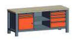 99551565 Stół trójka, stelaż z blatem, 1 drzwi, 2 wstawki głębokie, 6 szuflad (wymiary: 850-900x2000x700 mm)