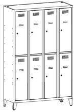 99552013 Szafka ze schowkami 0,5mm na nóżkach, 8 drzwi (wymiary: 1940x1200x500 mm)