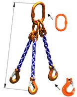 DOSTAWA GRATIS! 33948225 Zawiesie łańcuchowe trzycięgnowe klasy 10 miproSling HCS 40,0/28,0 (długość łańcucha: 1m, udźwig: 28-40 T, średnica łańcucha: 22 mm, wymiary ogniwa: 350x190 mm)