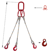 DOSTAWA GRATIS! 33948412 Zawiesie linowe trzycięgnowe miproSling HE 44,0/31,5 (długość liny: 1m, udźwig: 31,5-44 T, średnica liny: 44 mm, wymiary ogniwa: 350x190 mm)