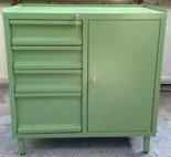 DOSTAWA GRATIS! 77157225 Szafa narzędziowa, 4 szuflady, 1 szafka z półką regulowaną (wymiary: 900x800x460 mm)