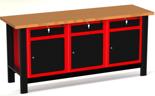 DOSTAWA GRATIS! 87853460 Stół warsztatowy z szafką, 3 szuflady, 3 drzwi - blat obity blachą (wymiary: 1960x890x600 mm)