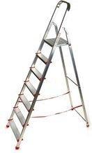 DOSTAWA GRATIS! 99674639 Drabina domowa 7 stopniowa, czerwona (wysokość robocza: 3,40m)
