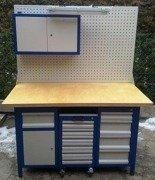 Stół warsztatowy, 5 szuflad, 1 szafka + szafa z nadbudową + wózek z 6 szufladami (wymiary: 1500x750x850 mm) 77156969