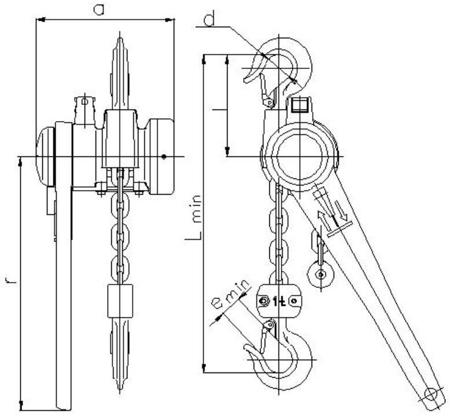 DOSTAWA GRATIS! 2202537 Wciągnik łańcuchowy dźwigniowy z łańcuchem ogniwowym Z310/0.5t (wysokość podnoszenia: 2,5m, udźwig: 0,5 T)