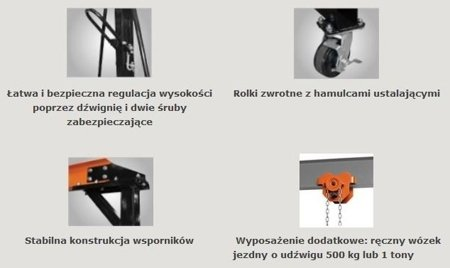 32269007 Suwnica bramowa, mobilny dźwig portalowy (udźwig: 1000 kg, szerokość w świetle: 2300 mm, wysokość podnoszenia: 2500-3600 mm)