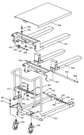99724817 Wózek paletowy/platformowy podnośnikowy GermanTech (max wysokość: 85-1200 mm, udźwig: 400 kg, długość wideł: 650 mm)