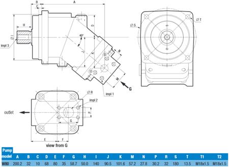 DOSTAWA GRATIS! 01539160 Pompa hydrauliczna tłoczkowa o stałej wydajności Hydro Leduc (obj geometryczna: 80,4cm³ prędkość obrotowa: 1800min-1/obr/min)