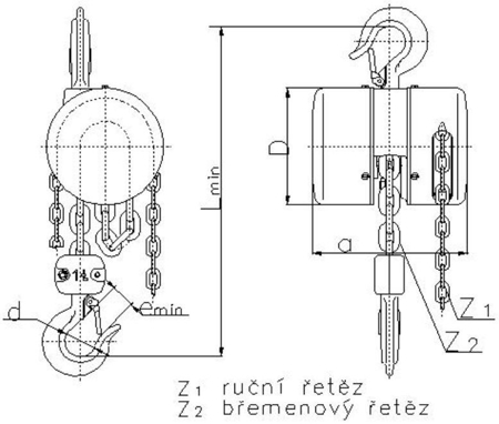 DOSTAWA GRATIS! 22021358 Wciągnik łańcuchowy z przekładnią planetarną Z100/1.6t (wysokość podnoszenia: 9m, udźwig: 1,6 T)