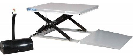 DOSTAWA GRATIS! 31070597 Niskoprofilowy - nożycowy stół podnośny z rampą (udźwig: 1000 kg, wymiary stołu: 1450x800 mm, wysokość podnoszenia min/max: 85-860 mm)