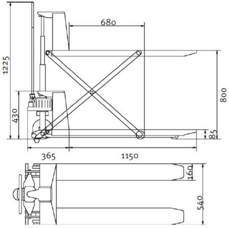 DOSTAWA GRATIS! 32240162 Nożycowy wózek paletowy z mobilną platformą podnośną Unicraft (udźwig: 1000 kg)