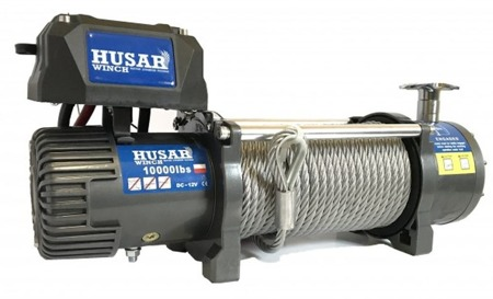 DOSTAWA GRATIS! 51971655 Wyciągarka Husar z liną stalową 12V (uźwig: 10000lbs / 4536 kg, długość liny: 28m)
