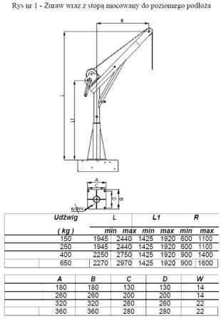 DOSTAWA GRATIS! 53368256 Żuraw ze stopą i wciągarką ręczną z liną 12m (udźwig: 150 kg, wysokość podnoszenia: 1945-2440 mm)