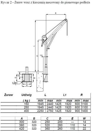 DOSTAWA GRATIS! 53368258 Żuraw ze stopą i wciągarką ręczną z liną 12m (udźwig: 400 kg, wysokość podnoszenia: 2250-2750 mm)