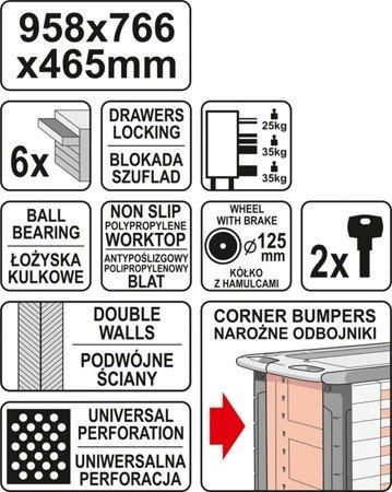 DOSTAWA GRATIS! 65669916 Wózek, szafka serwisowa, 6 szuflad, blat antypoślizgowy (wymiary: 95,8x76,6x46,5 cm)