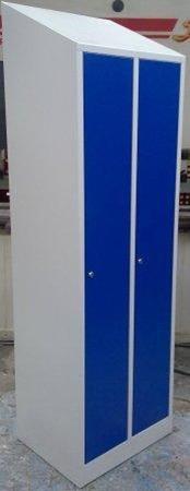 DOSTAWA GRATIS! 77170706 Szafa odzieżowa BHP ze skośnym daszkiem, 2 drzwi (wymiary: 2000/1800x800x480 mm)