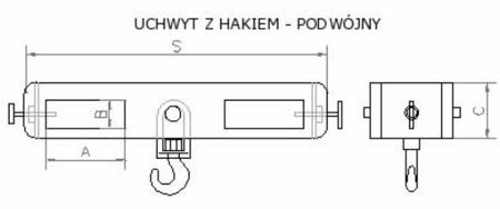 Uchwyt z hakiem (podwójny) (2000kg) 2903549