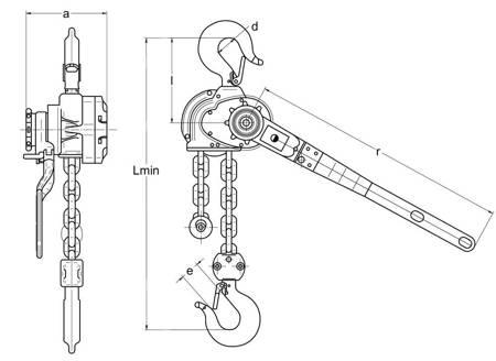 Wciągnik łańcuchowy dźwigniowy (wysokość podnoszenia: 4,5m, udźwig: 1,6 T) 22076844