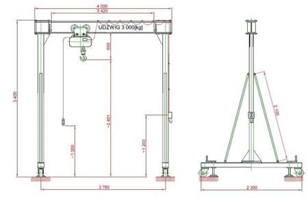 Wciągnik na konstrukcji nośnej-przestawnej (udźwig: 3,2 T, rozstaw kół jezdnych: 3,76 m, wysokość podnoszenia: 2,4 m) 95877990