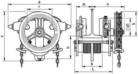 Wózek jednobelkowy z napędem ręcznym (wysokość podnoszenia: 3m, szerokość stopy belki: 90-226mm, udźwig: 5 T) 22076973
