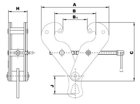Zawiesia klamrowe - z uchem (max szerokość belki: 300 mm, udźwig: 5 T) 22077052