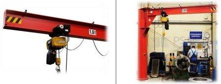 Żuraw słupowy obrotowy z wciągnikiem łańcuchowy elektrycznym na wózku elektrycznym (udźwig: 500 kg, długość ramienia: 4000mm, wysokość do belki: 3800mm) 03076676